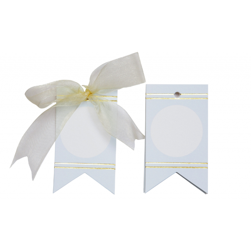 Circles and Gold Lines Gift tags (Blue)